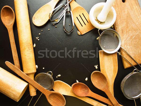 Konyhai eszköz szett konyha kellékek fekete űr Stock fotó © AGfoto
