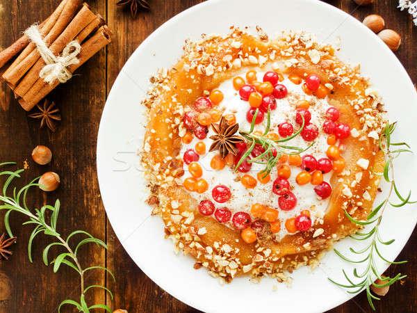 Natal sobremesa pereira nozes frutas creme Foto stock © AGfoto