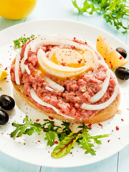 Beef tartar sandwich Stock photo © AGfoto