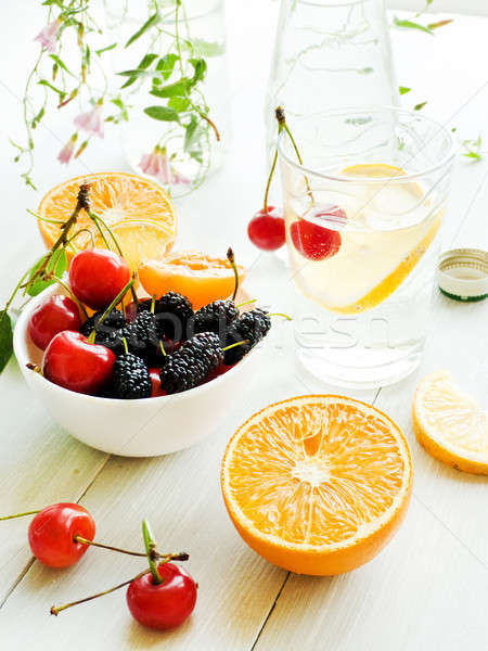 Mineraalwater citroen glas ondiep voedsel Stockfoto © AGfoto