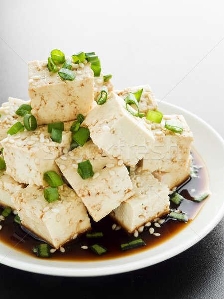 Tofu tányér sajt szójaszósz zöldhagyma sekély Stock fotó © AGfoto