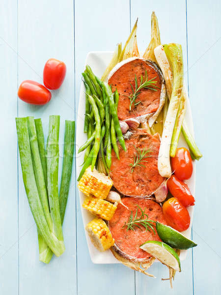 Pink salmon steaks Stock photo © AGfoto