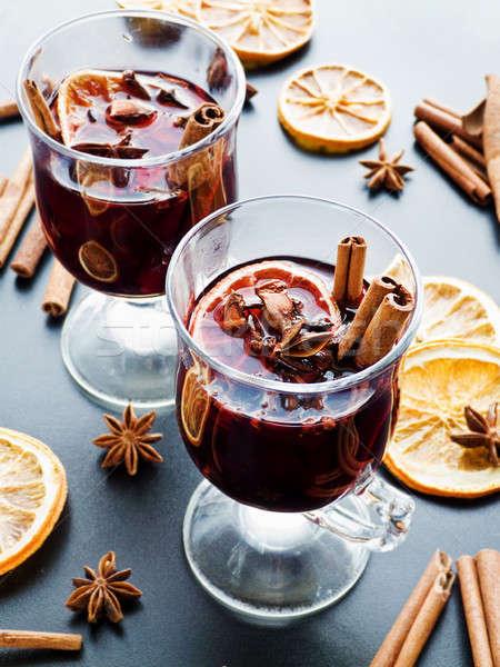Noel şarap dilim turuncu baharatlar sığ Stok fotoğraf © AGfoto