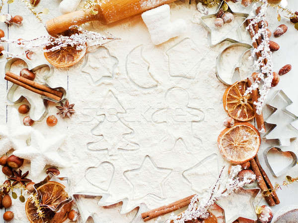 Natal bolinhos temperos fundo metal Foto stock © AGfoto