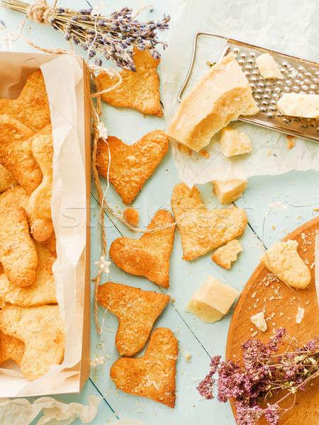 пармезан сердце Cookies итальянский травы Сток-фото © AGfoto
