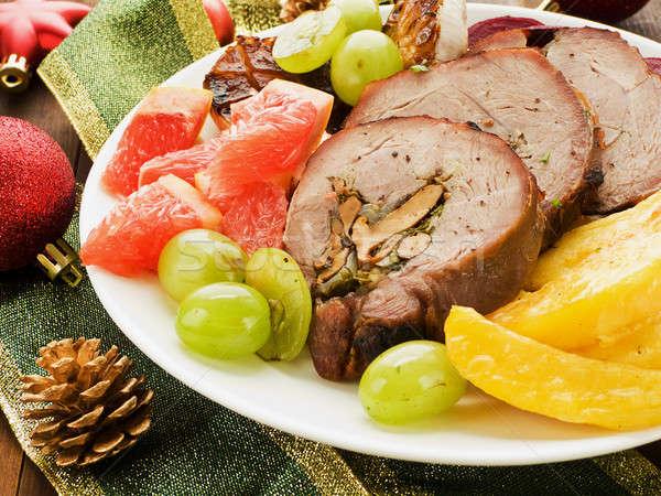 Stockfoto: Diner · christmas · Turkije · vruchten · groenten · ondiep