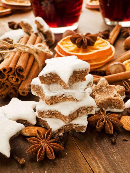 Stockfoto: Christmas · specerijen · cookies · noten · vruchten · ondiep
