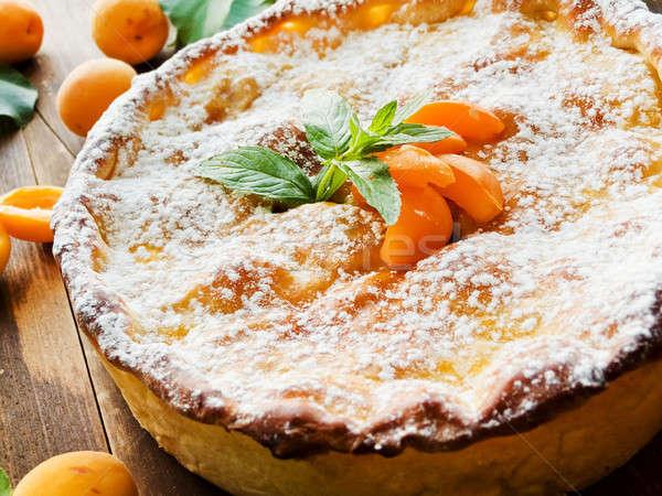 Sweet абрикос пирог свежие мята Сток-фото © AGfoto