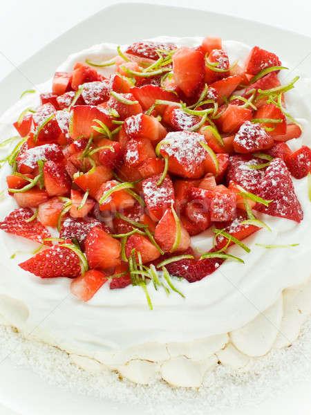 Strawberry Pavlova Stock photo © AGfoto