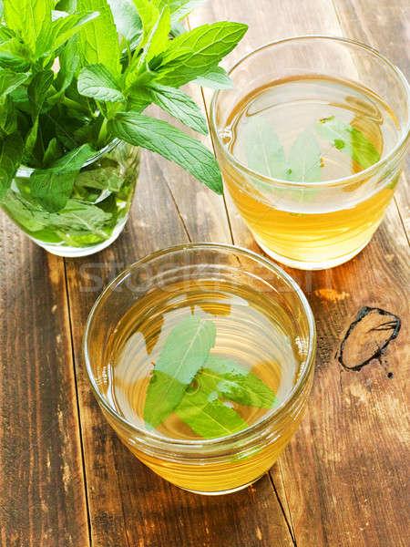 Fresco chá verde de óculos raso Foto stock © AGfoto