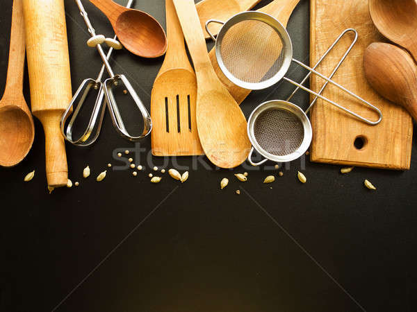 Kitchen utensil background Stock photo © AGfoto