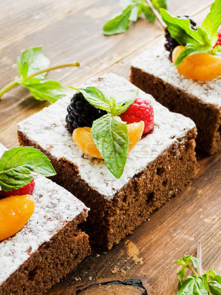 Brownie with berries Stock photo © AGfoto
