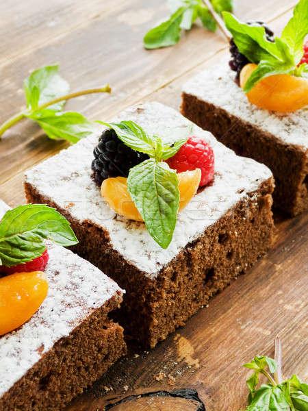 çikolatalı kek karpuzu çikolata nane sığ Stok fotoğraf © AGfoto