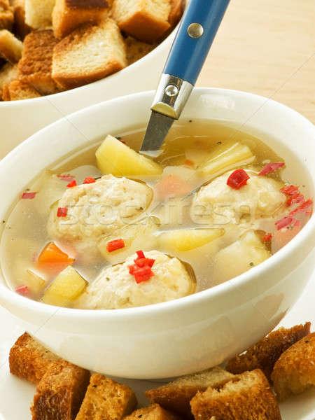 商業照片: 湯 · 雞 · 肉丸 · 淺 · 麵包