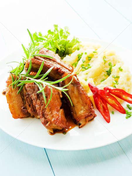 Pork ribs with veggies Stock photo © AGfoto