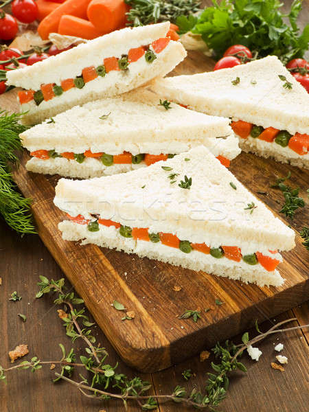 Sandwiches haricots verts carotte fromage cottage peu profond Photo stock © AGfoto