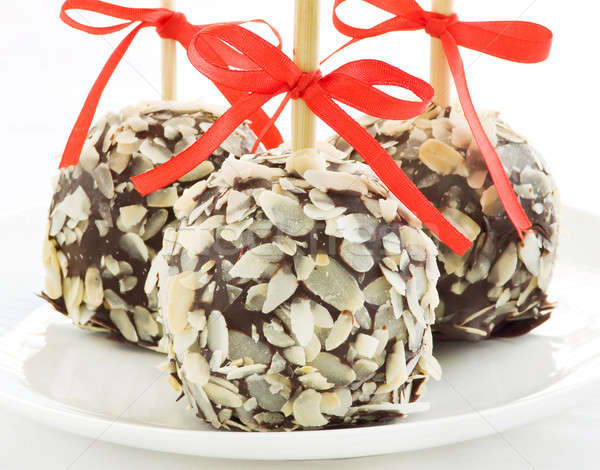Foto stock: Navidad · manzanas · casero · postre · leche · chocolate
