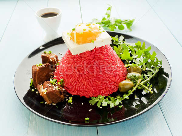 Arroz tofu huevo yema de huevo placa cerdo Foto stock © AGfoto