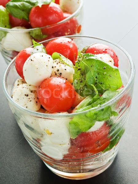Caprese gözlük taze caprese salatası sığ Stok fotoğraf © AGfoto
