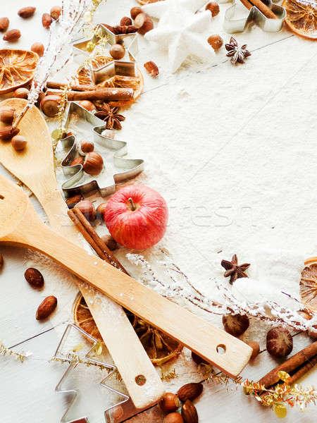Foto stock: Navidad · cookie · especias · manzana · fondo