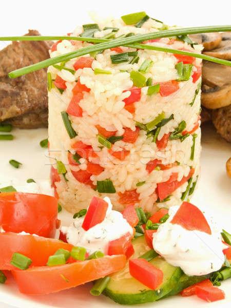 Cena placa arroz frito carne setas Foto stock © AGfoto