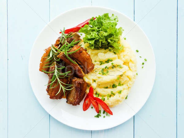 Pork ribs with veggies Stock photo © AGfoto