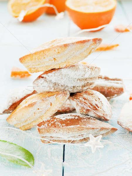 Stockfoto: Frans · dessert · cookies · gedroogd · sinaasappelen · ondiep