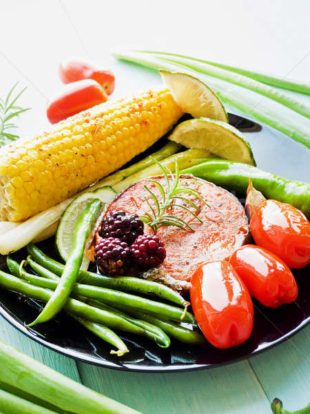 Stockfoto: Roze · zalm · ondiep · voedsel · vis