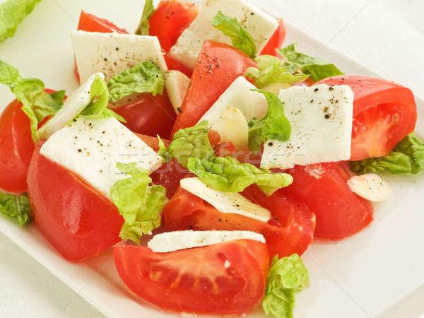 Ensalada roma tomate feta ajo superficial Foto stock © AGfoto