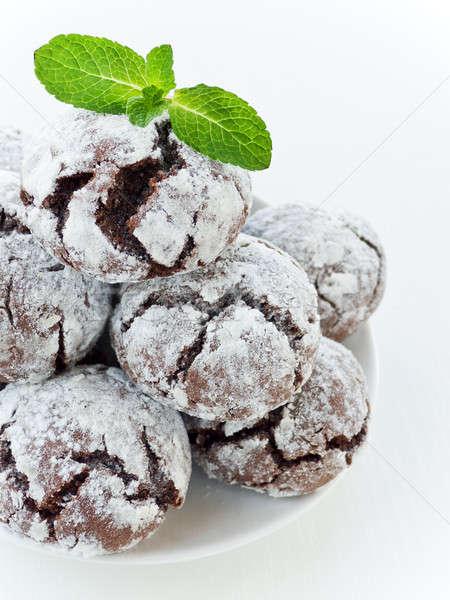 Chocolade cookies mint ondiep voedsel Stockfoto © AGfoto
