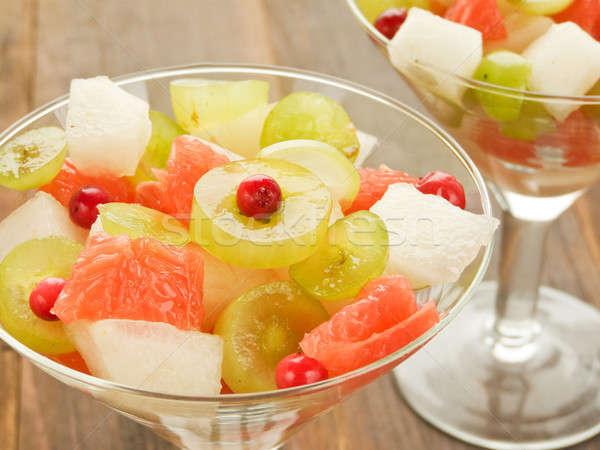 フルーツサラダ 眼鏡 新鮮果物 サラダ 浅い ストックフォト © AGfoto