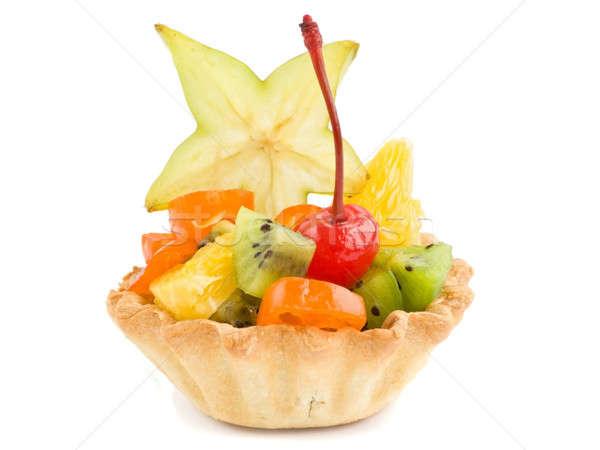 Bir meyve yalıtılmış beyaz kek salata Stok fotoğraf © AGfoto