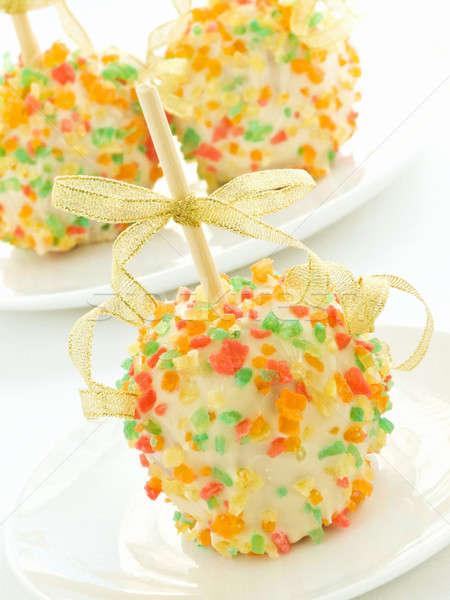 Christmas appels eigengemaakt dessert witte chocolade Stockfoto © AGfoto