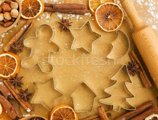 Noel kurabiye baharatlar fındık arka plan Stok fotoğraf © AGfoto