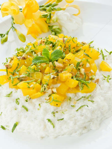 Sütlaç mango kireç hindistan cevizi sığ Stok fotoğraf © AGfoto