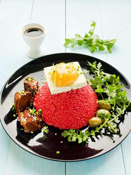 Arroz tofu ovo gema prato carne de porco Foto stock © AGfoto