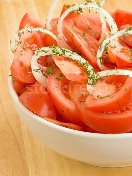 Salata beyaz çanak taze domates sığ Stok fotoğraf © AGfoto
