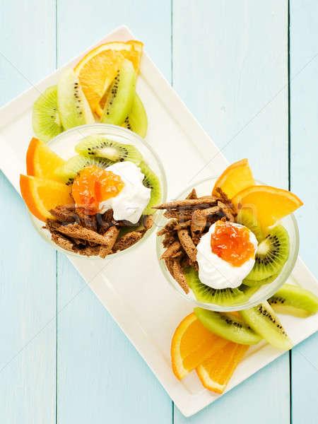 Fruit panna cotta Stock photo © AGfoto