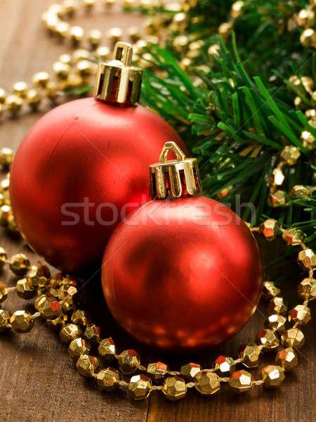Christmas ornamenten houten ondiep boom Stockfoto © AGfoto