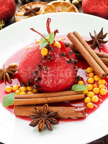 ストックフォト: 梨 · 赤ワイン · スパイス · 浅い · ワイン