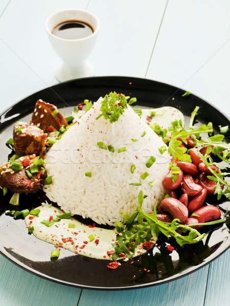 コメ 豚肉 リブ 赤 豆 プレート ストックフォト © AGfoto