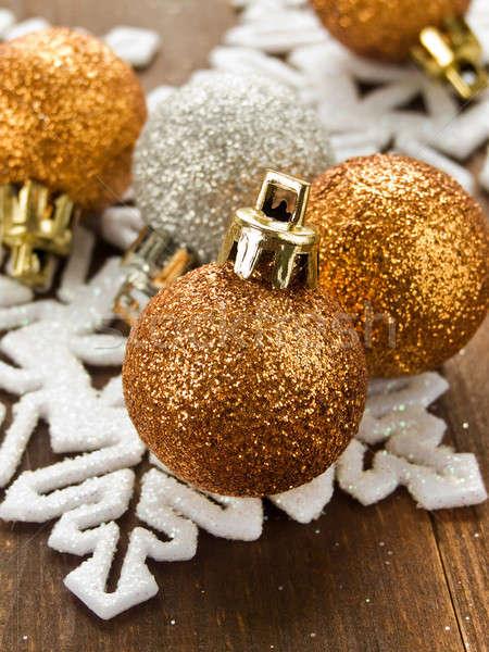 Christmas ornamenten houten ondiep hout Stockfoto © AGfoto