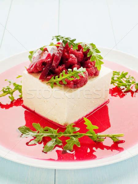 Tofu marinált sajt brokkoli gombák mártás Stock fotó © AGfoto