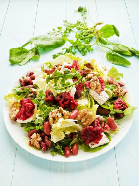 Saláta gyógynövények marinált brokkoli étel gyümölcs Stock fotó © AGfoto