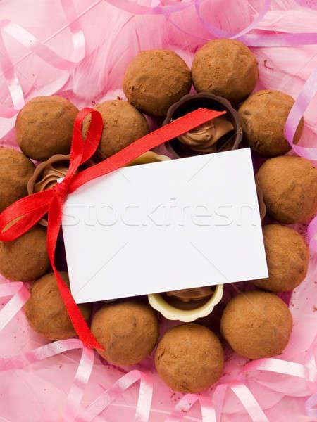 şekerleme sevgililer günü etiket şerit kalp kâğıt Stok fotoğraf © AGfoto