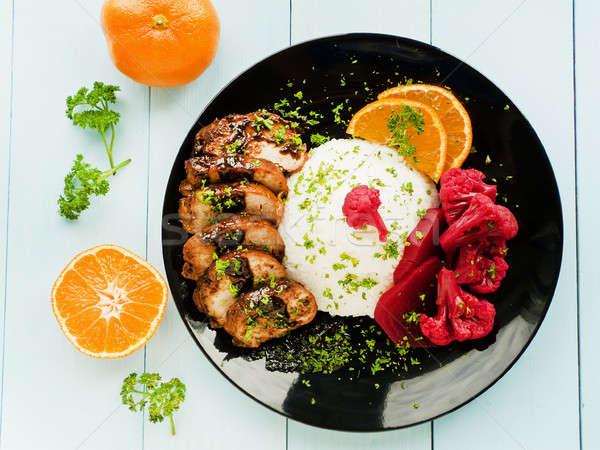свинина филе риса пластина маринованный Сток-фото © AGfoto