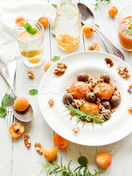 Apricot gelato dessert Stock photo © AGfoto