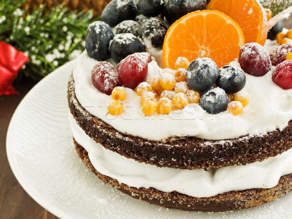 Tél torta karácsony gyümölcstorta tejszínhab gyümölcsök Stock fotó © AGfoto