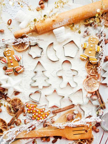 Karácsony sütés süti fűszer háttér fém Stock fotó © AGfoto