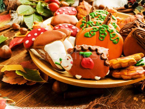ősz mézeskalács sütik aranyos sekély mélységélesség Stock fotó © AGfoto